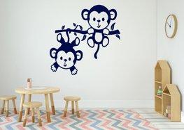 Sticker twee aapjes aan een tak donker blauw 35 x 35 cm | Rosami