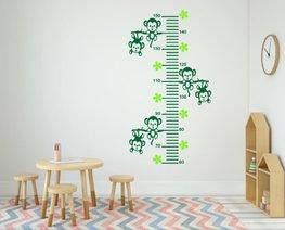 Sticker groeimeter aapjes aan tak groen 102 x 55 cm | Rosami