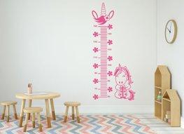 Muursticker groeimeter eenhoorn roze | Rosami