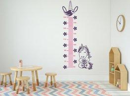 Muursticker groeimeter eenhoorn paars/roze | Rosami
