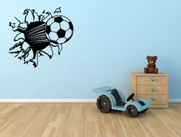 3d muursticker voetbal zwart 55 x 50 cm | Rosami
