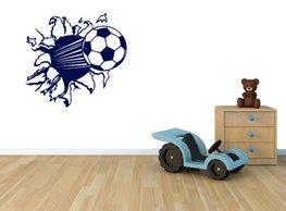 3d muursticker voetbal donker blauw | Rosami