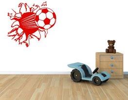 3d muursticker voetbal rood 55 x 50 cm | Rosami