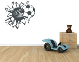 3d muursticker voetbal donker grijs 55 x 50 cm | Rosami