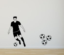 Muursticker voetballer silhouette zwart 70 x 40 cm | Rosami