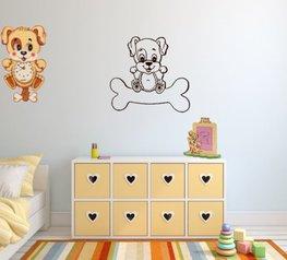 Decoratiesticker Hond op bot donker bruin 30 x 30 | Rosami