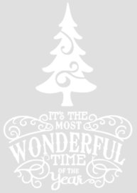 Raam / deco sticker Wonderful time of the year met kerstboom | Rosami