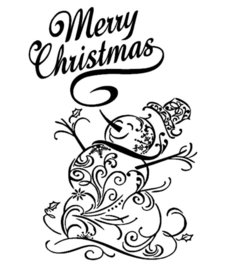 Raam / decoratiesticker merry christmas met sneeuwpop | Rosami