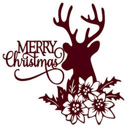 Raam sticker Merry Christmas Rendier met bloemen | Rosami