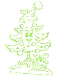 Raam / decoratiesticker grappige kerstboom | Rosami