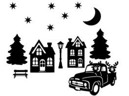 Raamsticker set herbruikbaar kerstdorp huisjes auto | Rosami