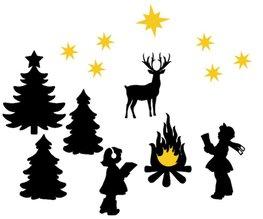 Uitbreidingsset 1 raamsticker kerst wintertafereel herbruikbaar statisch | Rosami