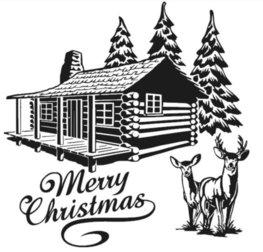 Raam / Decoratie sticker Merry Christmas blokhut kerstboom rendier 58 x 58 cm | Rosami