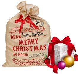 Jute cadeau zak ho ho ho met naam Merry Christmas