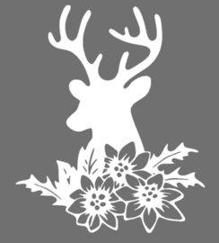 Raamsticker herbruikbaar statisch folie Rendier met bloemen | Rosami