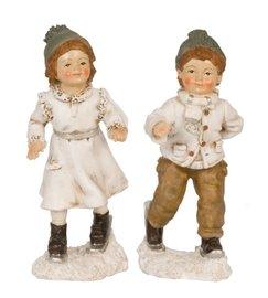 Set jongen & meisje op ski's 18 cm | Clayre & Eef