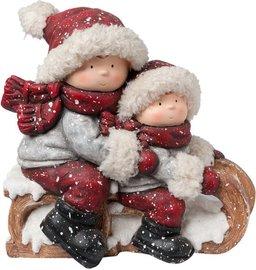 Kinderen op een slee | 6TE0166 | Winter & Kerst | Clayre & Eef