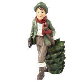 Jongen met kerstboom 19 x 14 cm | 6PR1136 | Clayre & Eef