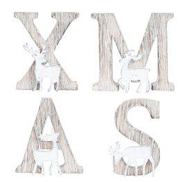 Letters hout XMAS met rendier |  6H1076 | Clayre & Eef