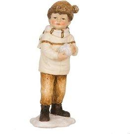 Beeldje Jongen met sneeuwbal | 6PR0579| Clayre & Eef