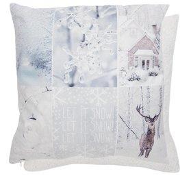 Winterse kussenhoes Let it snow | KT021.077 | Clayre & Eef