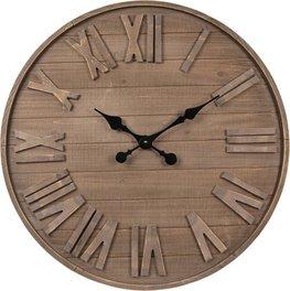 Klok hout plank  Ø 70 cm | 5KL0132 | Clayre & Eef