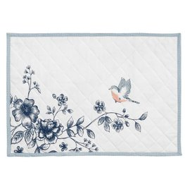 Placemat 6 stuks wit met bloemen  | EBI40 | Clayre & Eef
