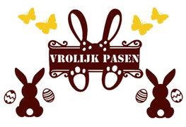 Raamsticker set herbruikbaar Vrolijk pasen met vlinders, konijnen & eieren bruin/geel | Rosami