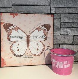 Schilderij vlinder bedankt - bloempot groeien | Juf & Meester