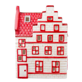 Waxinelichthouder 13*7*19 cm Wit/rood | 6CE0751 | Clayre & Eef