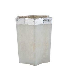 Waxinelichthouder 8*8*9 cm Wit | 6GL1560 | Clayre & Eef