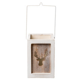 Waxinelichthouder 11*10*15 cm Wit/grijs | 6H1495M | Clayre & Eef