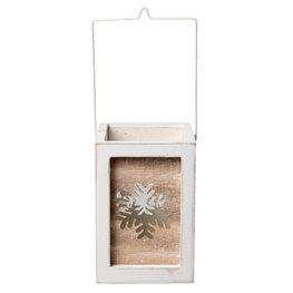 Waxinelichthouder 11*10*15 cm Wit/grijs | 6H1496M | Clayre & Eef