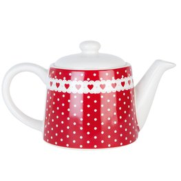 Theepot 18*10*10 cm / 0,3 L Rood | DHTE | Clayre & Eef