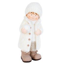 Jongen met sneeuwbal 19*16*46 cm Wit | 63463 | Clayre & Eef