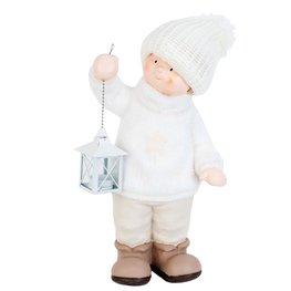 Jongen met lantaarn 24*16*47 cm Wit | 63465 | Clayre & Eef