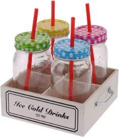 Drink bokaal / Jar /met rietje 500 ml 4 Dlg -set