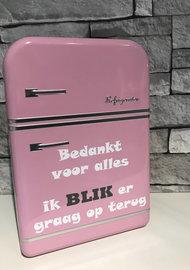 Voorraadblik koelkast roze bedankt ik blik er graag op terug   Juf & Meester