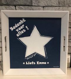 Dienblad wit blauw ster 30 x 30 cm - Bedankt voor alles   Juf & Meester