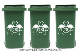 Voordeelset container sticker flamingo met huisnummer | Kliko | Rosami