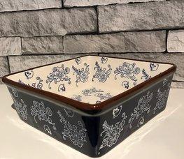 Ovenschaal 20 x 20 cm floral lace blue | Lavandoux