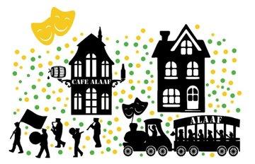 161 delige stickerset raam Carnaval huisjes & optocht herbruikbaar   Rosami