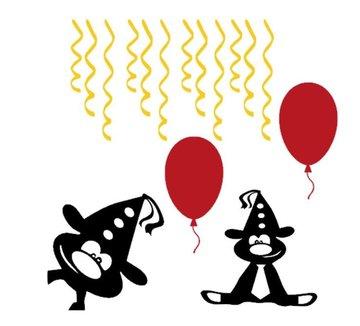 16 delige raamsticker set   Herbruikbaar   Feestbeest ballon & serpentine    Rosami