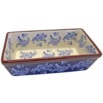 Ovenschaal 25 x 14 cm floral lace blue   Lavandoux