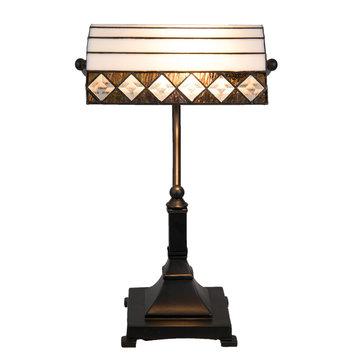 Bureaulamp Tiffany 26*20*43 cm / E27 / Max. 1x60 Watt Wit/zwart | 5LL-5196 | Clayre & Eef