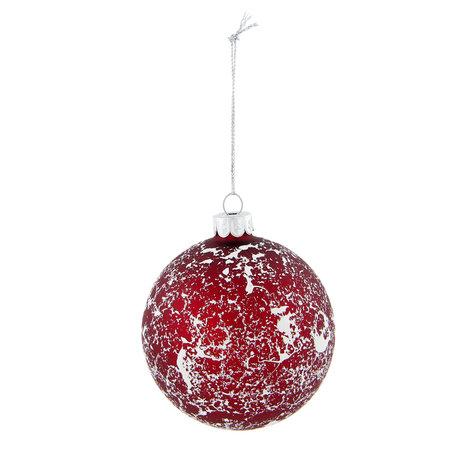 2 STUKS Kerstbal ø 8 cm Rood | 6GL2012 | Clayre & Eef