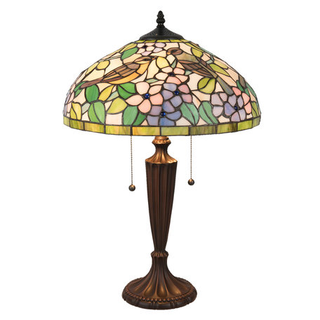 Tafellamp Tiffany ø 41*60 cm E27/max 2*60W Meerkleurig   5LL-5209   Clayre & Eef