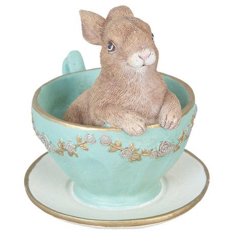 Decoratie konijn in kopje 8*7*8 cm Groen | 6PR1044 | Clayre & Eef