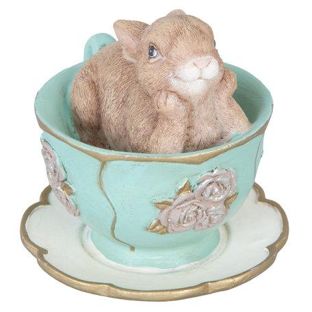 Decoratie konijn in kopje 8*7*7 cm Groen | 6PR1045 | Clayre & Eef