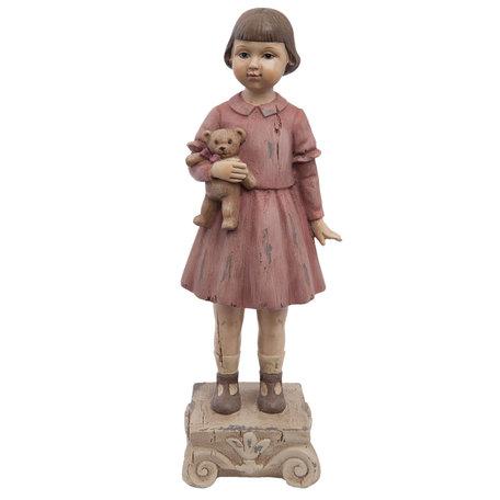 Decoratie beeld meisje 9*7*24 cm Roze | 6PR1162 | Clayre & Eef